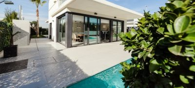 swimming pool by modern house
