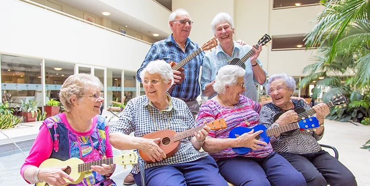 old people playing instruments