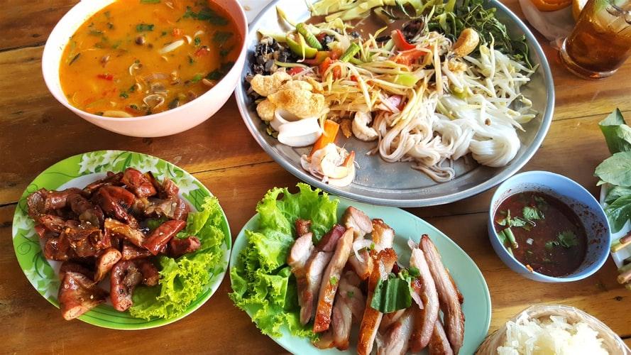 Thai cuisine on a table