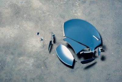 broken plate on ground