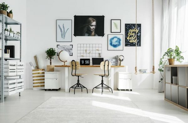 a stylish home office with white walls