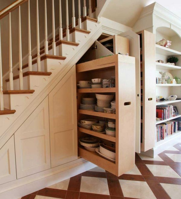hideaway storage under the stairs