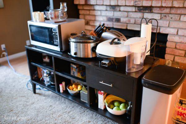 a makeshift kitchen