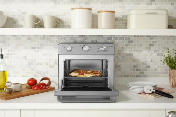 pizza inside a small oven