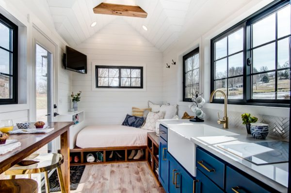 a tiny home with white walls