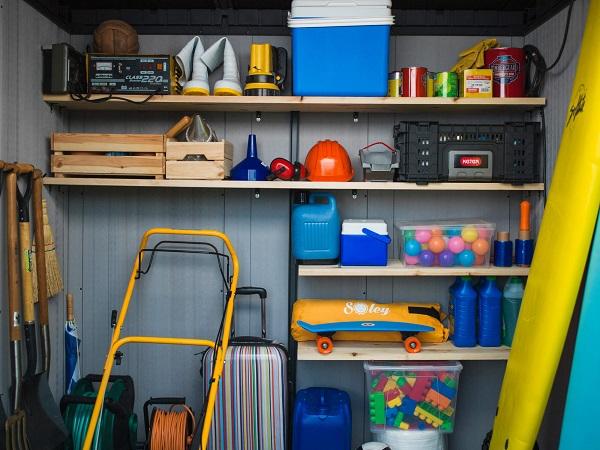 An organised shelf inside a shed