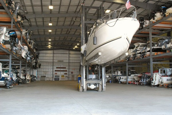 Boats parked in a storage warehouse