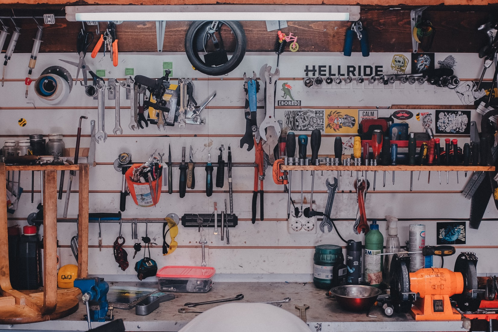 Tools hanging in garage